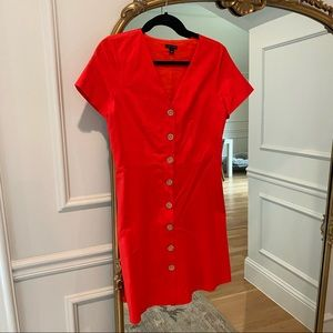 Ann Taylor Red Button Front Mini Dress